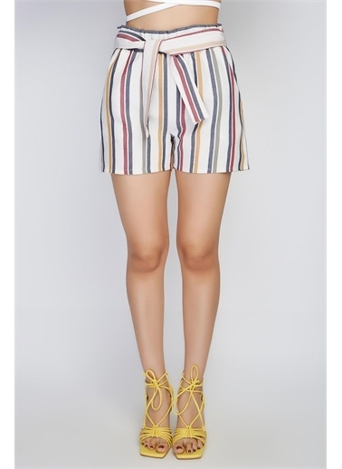Rodi Jeans Kadın Orta Çizgili Lastik Bel Şort Rd21Yb141422 Lacivert